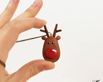 Christmas necklace Red nose deer pendant Polymer clay jewelry Funny deer necklace Stocking Stuffer for kids Cute animal jewelry Brown deer