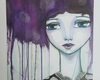 Print of mixed media painting, Aurora. Celestial art. Imaginative portrait. Weird art, northern lights, girl art, watercolor girl, whimsical