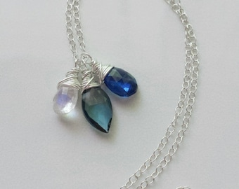 London Blue Topaz Necklace, Kyanite Necklace, Rainbow Moonstone Necklace, Sterling Silver Necklace, Multi Gemstone Pendant