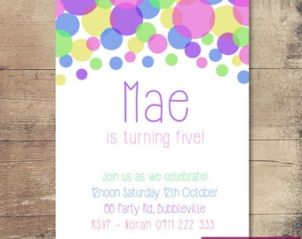 Printable Bubble Birthday Invitation / Customisable Digital File / JPG or PDF / Pink, Blue, Yellow, Green, Purple