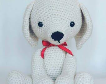 Amigurumi Dog, Amigurumi Puppy, crochet doggy, stuffed animal, white dog