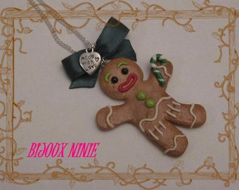Polymer clay gingerbread cookie necklace