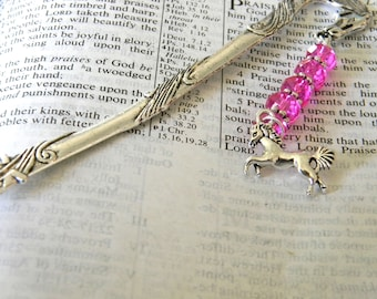 Horse Bookmark with Hot Pink Glass Beads Detailed Horse Shepherd Hook Silver Color