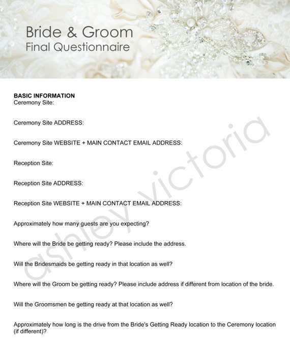 Bride groom wedding questionnaires for photographers set of bride groom wedding questionnaires for photographers set of 2 junglespirit Images