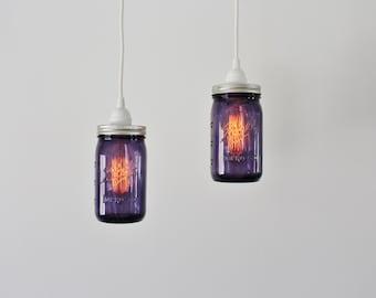 Pair of PURPLE Mason Jar Pendant Lamps - 2 Hanging Lighting Fixtures featuring 2 Purple Quart Ball Mason Jars - Upcycled BOOTSNGUS Lights