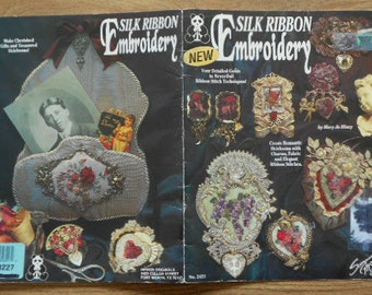 1993 silk ribbon embroidery pattern book by Mary Jo Hiney   create romantic heirlooms with charms fabric and ribbon stitches