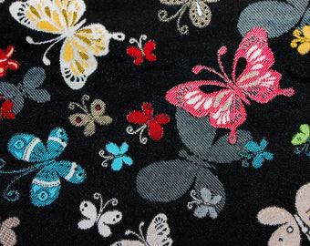 Coupon 1 m X 1.40 m fabric jacquard background patterns black butterflies multicolors