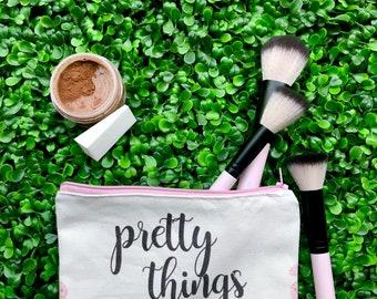 PRETTY THINGS Zipper Pouch | Pencil Case, Makeup bag, Zipper Bag