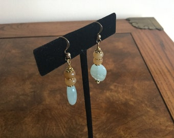 Semiprecious natural gemstone earrings, adventurine and agate chalcedony , dangle 14k gold filledsemip