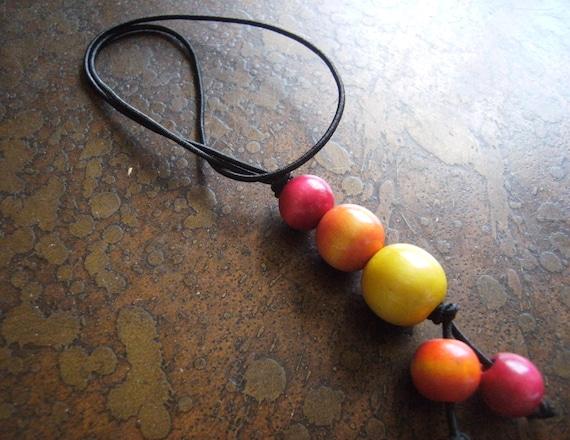 Color Burst Wood Hair Tie
