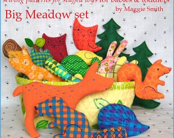 Big Meadow Set - Little Softies sewing pattern, EMAIL PDF sewing pattern, Scrap Savers - stuffed animals for babies and toddlers