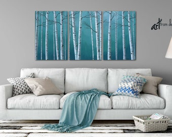 Canvas wall art, Teal blue gray white, Birch tree painting print set, Minimalist art 3 piece, Bedroom, Dining room Living, Large triptych