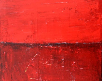 Original Red Acrylic Abstract Painting. 12x9 Canvas Art. Landscape Painting. Home Wall Decor
