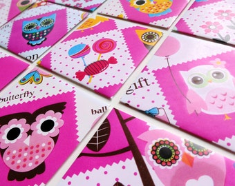 Owls and Candies Mini Stationery Set - Candy Party, Cute Gift Cards, Greetings, Blank Note Cards, Gift Under 15, Thank You, Square, Colorful