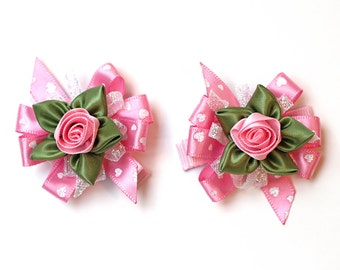 Valentines Day Hair Bow. Girls Fancy Ribbon Rose Hair Clips Set of 2. Toddler Girl Hairclips. Baby Hair Clippies. Valentines Day Hair Bows