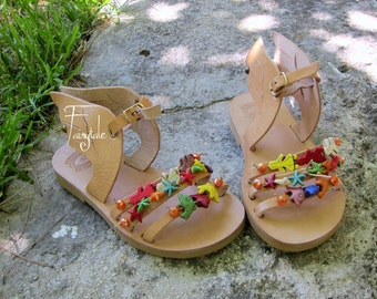 "Sandals for kids with wings/ Baby sandals/ Natural Greek Leather sandals / Slingback Slides/  Strap Sandals ""Summer"""