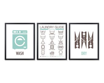 Housekeeping Laundry symbols room decor Laundry sign Washing symbols Washing machine Laundry Guide Clothespin Instructions Clothespins
