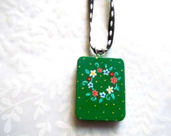 Handpainted Pendant - Ring of Flowers