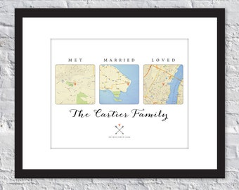 Met. Married. Loved. Customized Map Art