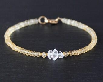 Citrine Bracelet, Herkimer Diamond Bracelet, Dainty Beaded Bracelet, November birthstone, Skinny Bracelet, Anklet, Skinny Anklet