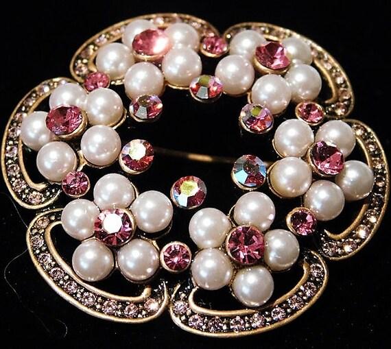 Pink Rhinestone Faux Pearl Brooch / Mid Century / Wedding