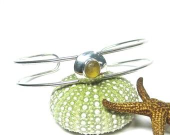 Yellow Sea Glass and Sterling Silver Double Cuff Bracelet   Sea Glass Bracelet   Women's Jewelry   Sterling Silver   Seaglass Bracelet