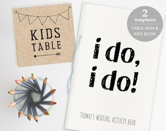 Wedding Kids Activity Book Template, Printable Coloring Book, Kids Activity Idea, Flower Girl Ring Bearer Gift, Kids Table Sign PDF Download