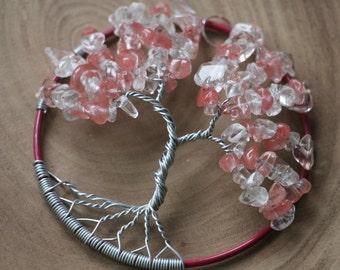 "Crystal & Cherry Quartz Tree of Life pendant / decoration - 70mm / 2.75"""