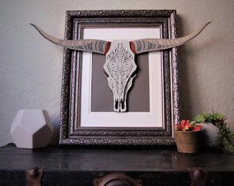 Ornamental Texas Longhorn Cow Skull Paper Wall Art