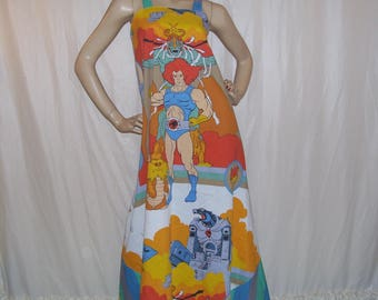 Thunder Cats Maxi Dress Upcycled Vintage 1985 Fabric Sundress Liono Cheetara Cartoon Comic Con Dress OOAK Long dress Mom Party Adult M L XL