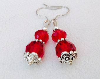 Siam Red Crystal Earrings - Sparkly Red and Silver Jewelry - Elegant Dangle Earrings - Orrsome Bling - Australian Shop
