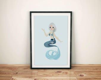 Mermaid Watercolor Art Print - Mermaid Painting Wall Art Poster - Seaside Home Decor - Nursery Wall Art Print - Blue Mermaid