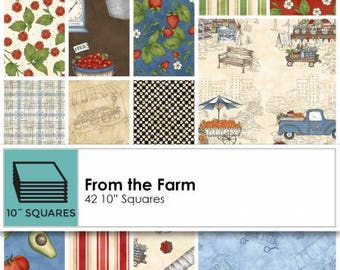 From the Farm 10 Inch Squares Layer Cake, 42 Pieces, Kris Lammers, Maywood Studio, Precut Fabric, Quilt Fabric, Cotton Fabric