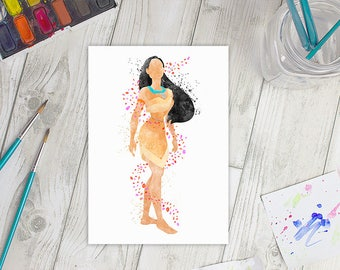 Disney Inspired Pocahontas A5 Watercolour Print