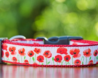Red Poppies Dog Collar / Floral Dog Collar / Dog Collars Australia / XS-XL / Poppy Dog Collar