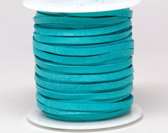1/8 Inch 3MM Spool of Turquoise Blue Green Deerskin Leather Lace 50ft Deer Roll Lacing String Cord Supply Necklace Bracelet Wraps Fringe