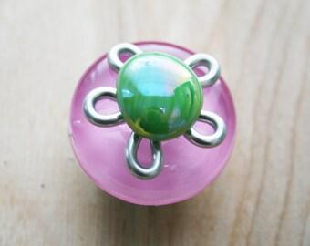 Glass Flower Knobs/Kitchen Cabinet Hardware/Girls Bedroom Decor/Bathroom Drawer Handles/Bi-fold Door Knobs/Colorful Fused Glass Knobs
