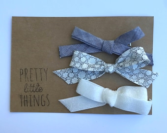 Set of three handtied bows - clips or nylon headbands