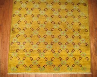 Vintage Turkish Konya Rug Yellow Size 2'9''x5'