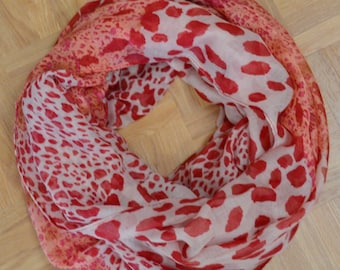PInk Red Leopard Light Weight X-large Infinity Scarf Loop Cowl