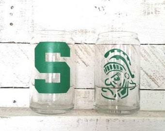 MSU Spartan Drinking Glass Can- MSU Collecter Glass-Officially Licensed Product #8115- College Dorm Student Fan Gift Graduation Gift