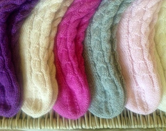 Cashmere bed socks by Willow Luxury - (to fit ladies shoe sizes UK 7-8, US 9-10,  European 40-41)