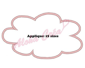 Machine Embroidery Design cloud applique (15 sizes) - Instant Digital Download