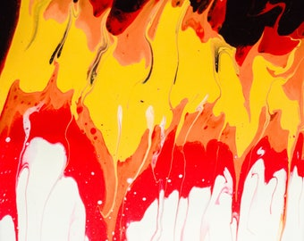 """Acrylic Paint Pour on 12x12 canvas - painting """"Fueled by Fire"""""""