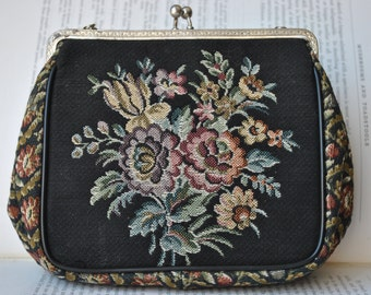 Vintage Embroidered Purse - 1950s Floral Handbag, Free Shipping