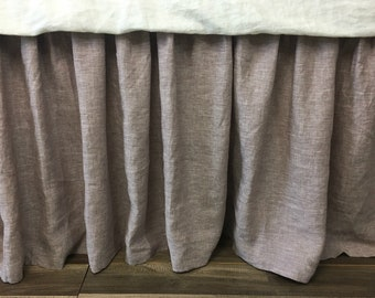 Sale 20% off!  Chambray Rustic Raspberry Bed Skirt with Gathered Ruffle, Natural Linen, Queen size