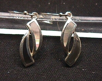 A Sterling Silver Pair of Earrings with Inlaid Abalone in each of them  # 14