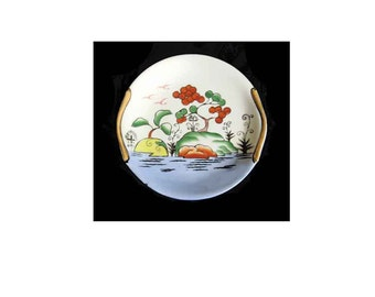 Small Vintage Plate, Wonderful Graphic Images, Fantastical Landscape with Water, Chinoiserie Inspired, Golden Handles, Simply Charming, 7.5""