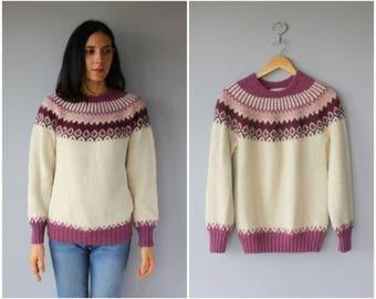 Vintage Alpaca Sweater • Fair Isle Sweater •  Wool Pullover •  Vintage Ski Sweater - (medium)