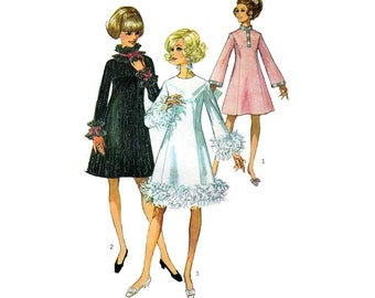 60's A-Line Dress Sewing Pattern,Bell Sleeves, Stand-Up Collar or Jewel Neckline, Misses Size 14 Bust 36 Uncut Vintage 1960s Simplicity 7914